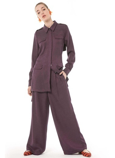 Vivencia Şifon Detaylı Ceket Pantolon Taş Takım Kırmızı